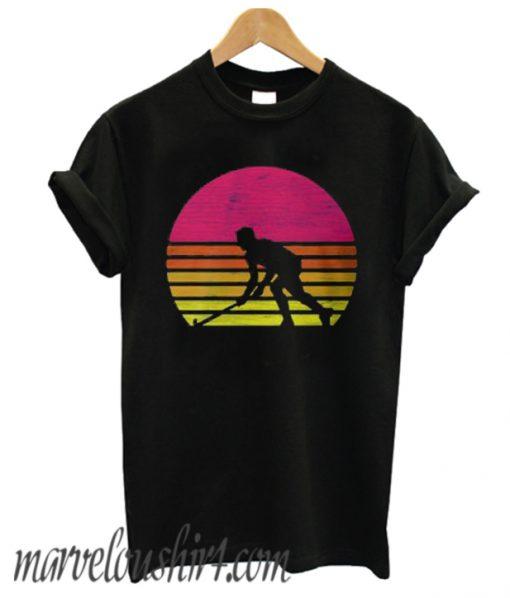 retro hockey player silhouette comfort t shirt