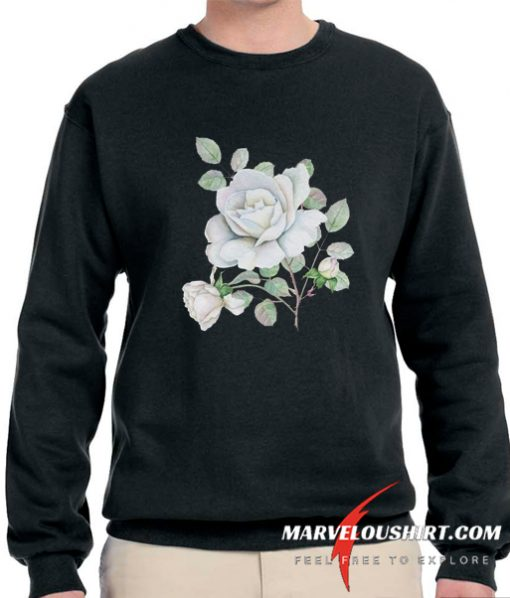 White Roses Watercolor Flowers comfort Sweatshirt