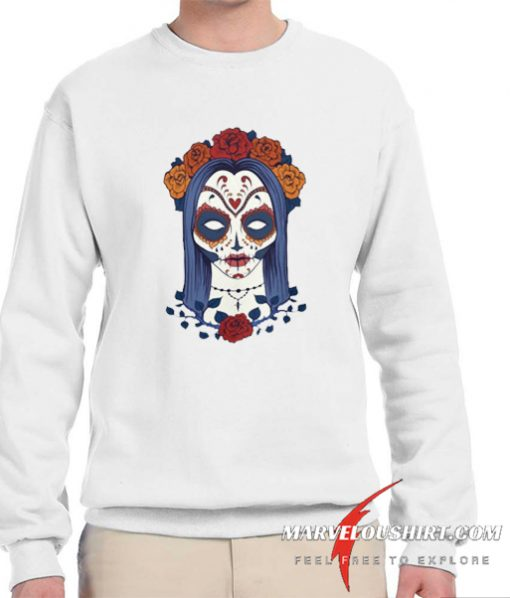 Woman Skull Face with Roses Flowers comfort Sweatshirt