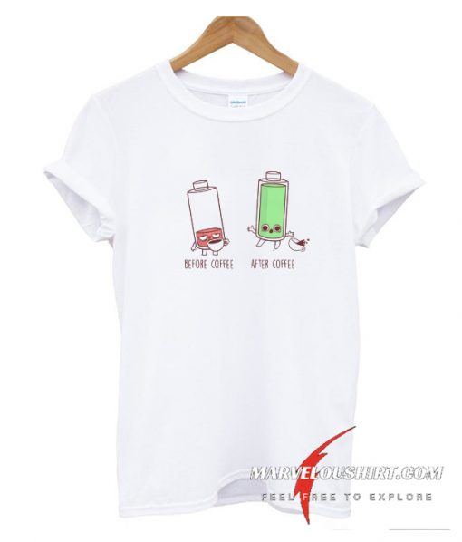 Before After Coffee Battery T Shirt